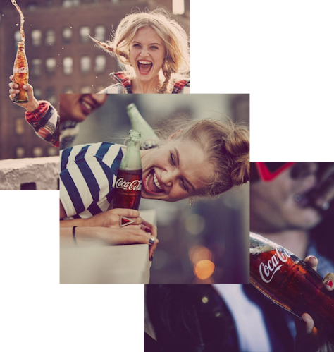 Background pics of people holding coca-cola bottles