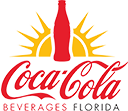 Coca-Cola Beverages Florida logo - Coke bottle surrounded by sun rays over the Company name